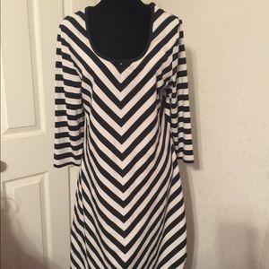 Allison Brittney Navy Stripe Dress Size xl.